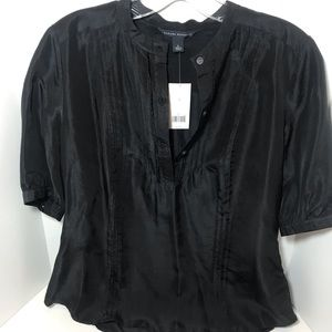 Banana Republic Sheer Black Silk Blouse size small